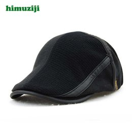 c5ab360c Duckbill caps online shopping - New Fashion Winter Men Berets Kniing Warm  Patchwork Hats Flat Duckbill
