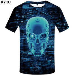 punk skull shirt Australia - KYKU Galaxy T Shirt Men Skull Tshirt Metal Punk Rock Clothes Mechanical 3d Print T-shirt Casual Space Mens Clothing Summer Tops