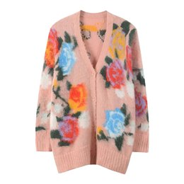 60a3e71abac6f6 Fashionable Women Sweater 2018 Autumn And Winter New Pattern V Collar  Woolen Sweater Rose Printing Red Knitting Cardigan Loose Coat