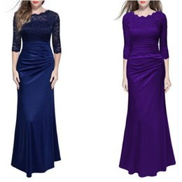 $enCountryForm.capitalKeyWord NZ - Womens Floral Lace Sexy Evening Gown Wedding Party Mermaid Maxi Long Dress Autumn Elegant Long Sleeve Solid Party Dresses