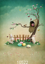 Background Prints Australia - Rabbit Fence Tree Easter Egg Children Baby Vinyl Photography Background Computer Printed Photography Backdrop for Photo Studio