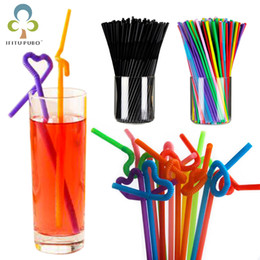 disposable plastic straw UK - Colorful Black Flexible Plastic Bendy Party Disposable Drinking Straws For Kids Birthday Wedding Decoration Event Supplies GYH