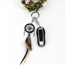 marriage wedding car NZ - Small HandmWind Chimesade Feather Dream Catcher Keychain Decor Car Bag Hanging Decoration Pendant New Year Dreamcatcher Gift 2018