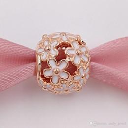 85ab278a786b 925 perlas de plata calado Daisy Rose encanto con esmalte blanco Se adapta  a pulseras de joyería de estilo Pandora europeo 780004EN12 chapado en oro