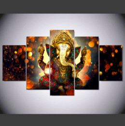 Canvas Art Prints For Sale NZ - Hot Sales 5 Panel Modern Elephant Trunk Indian God Hd Art Print Canvas Wall Unframed Paintings For Living Room Decor