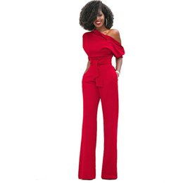 254d45c6682b Jumpsuits for Women 2018 Elegant Red One Shoulder African Fashion Straight  Long Pants Casual Party High Quality Pockets Jumpsuit