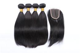 Human Hair Pc Closure NZ - Straight Human Hair Bundles With Closure 3 Bundles Deal With Closure 4 Pcs Lot Virgo Hair Bundles Non Remy Middle Part