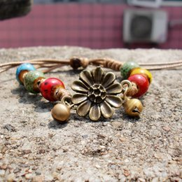 China Ceramic Bracelets Hand-woven Ancient Bronze Bell Personality Ethnic Bracelet Flower Glaze Bead Rope DIY Creative Fashion Jewelry Wholesale suppliers