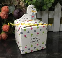 $enCountryForm.capitalKeyWord NZ - (100pcs lot) Baby Shower Party Gift box of Little Special Delivery Stork Favor Box for baby candy box and baby birthday favor