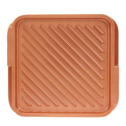 BBq sticks online shopping - 12inch Non Stick Copper Double Stocked And Griddle Reversible For Bbqs Frying Pan Reversible Induction Cookware Griddle Pan