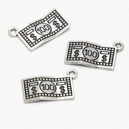 Pewter Pendants online shopping - 20pcs Dollar Charms Antiqued silver Tone Pewter USA Made Dollar Bill charm pendants x13mm