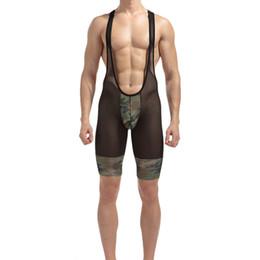 cf8f04464a wholesale Sexy Mens Camo Mesh Bodysuit Male Erotic Body Wear Sexy Underwear  Singlets Camouflage Exotic Lingerie Sexy Shaper