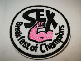 $enCountryForm.capitalKeyWord Australia - SEX Breakfast of Champions clothing Vest jacket Patches for F1 James Hunt Racing Iron On  sewing on Embroidered Patches