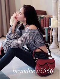 Vintage saddles online shopping - 2019 Women s Vintage Red Genuine Leather crossboday Bag Classic Lady Handbag with Knitting Belt cm Fashion Shoulder Bag