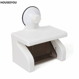 Toilet Paper Roll Holder Plastic Australia - Strong Suction Cup Waterproof Roll Paper Towel Holder Tissue Box Napkin Storage Boxes Rack for Home Restroom Toilet Supplies