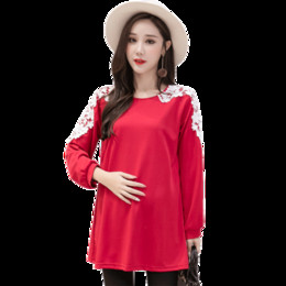 d4578c46ace00 Autumn Korean Fashion Maternity Shirts with Lace Long Sleeve Loose Tops  Clothes for Pregnant Women Pregnancy Tunic