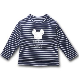 Chinese  Children T shirts for Girls Clothes Casual Cartoon Printed Top Shirt Striped Cotton T-shirt Long sleeve Top Tee manufacturers