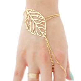 Hollow Fingers Australia - Wholesale- Luxury Famous Brand Jewelry Women Hollow leaves Finger Ring Bangle Slave Chain Gold Bracelet Hand Accessories