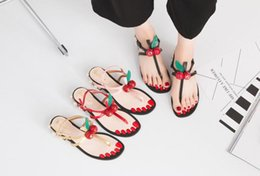 $enCountryForm.capitalKeyWord Canada - New Summer Sandals Flip Flops Flat Heels Pearl Cherry Sandals Buckle Shoes Female Footwear Rhinestone sandalias Open Toe Beach Woman Sandal