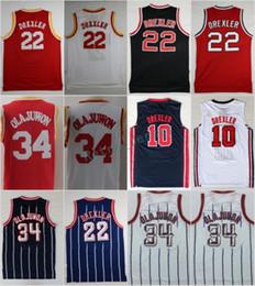 f6be8781f Olajuwon Basketball Jerseys 34 Hakeem Olajuwon 22 Clyde Drexler 10 Jersey  Vintage 1992 USA Dream Team Red Navy Blue White