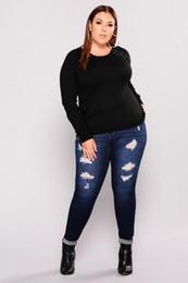 $enCountryForm.capitalKeyWord Canada - L-5XL Plus Size Jeans Hole Fashion Casual Women's Jeans Little Feet Tight Denim Pants Ladies Stretch Jeans 2018 New