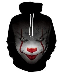 Ingrosso 2018 clown maschile torna all'anima del maglione con cappuccio da uomo con stampa digitale 3D