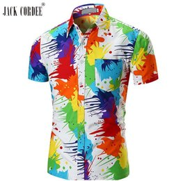 Jack Shirts NZ - JACK CORDEE Shirt Men Short Sleeve Hawaiian Shirt Summer Casual Cotton Multicolor Shirts Men Vacation Plus Size Floral Shirts
