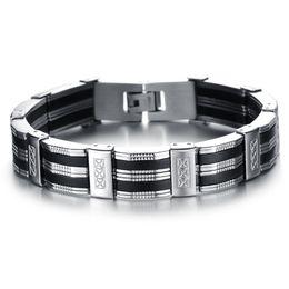 $enCountryForm.capitalKeyWord UK - High Quality Men Bracelet Personality Stainless Steel Silicone Bracelets Men Jewelry Accessories For Best Friend Wristband
