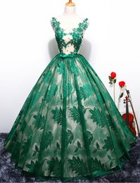 $enCountryForm.capitalKeyWord UK - Custom Made 2018 New Green Black Red Lace Prom Dress Vestido Scoop Puffy Ball Gown Evening Dress Robe De Soriee Prom Party Gwons