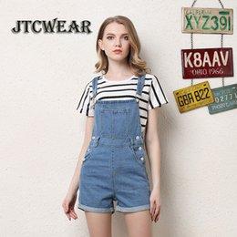 4f0399d3a6 JTCWEAR Jovem Senhora Bonito Jardineira Dungarees Mulher Spaghetti Denim  Shorts Suspensórios Macacões Jeans angustiado Macacão Curto 419