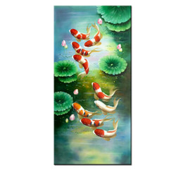 Koi Oil Paintings NZ - 100% Hand Painted Animal Feng Shui Koi Fish Oil Painting Wall Art China wind Modern Canvas Living Room Bedroom Home Decoration AFS062