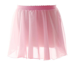 ebc97f8df 95cm-160cm Niños Niñas Dance Basic Classic Chiffon Mini Pull-On Wrap Skirt  Pink Purple Negro Blanco Azul Envío gratis