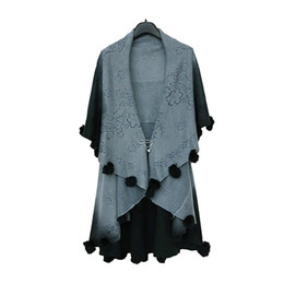 Jumper Ball UK - Jumper Spring autumn sweater women large size cape cardigan jacket big shawl fur ball sweaters coat clothing vestidos MMY397