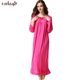 701d7fd0bb Fdfklak 2018 Spring Autumn Long Sleeve Print Tracksuit For Women Cotton  Sleepwear Vintage Night Gowns Sleeping Dress M-XXL Q414