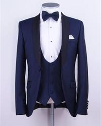 $enCountryForm.capitalKeyWord Canada - Three Pieces Navy Blue Mens Wedding Tuxedos Shawl Lapel One Button Groomsmen Suits Custom Made Men Prom Dinner Suit (Suit+Pants+Vest+Tie)
