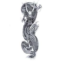 e303b1877 China Dragon Waterproof Temporary Tattoos Men Full Arm Flash Tattoo Art  body Harajuku Tattoo Sticker fake tattoo