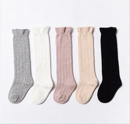 Chinese  Baby Kids Tube Ruffled Stockings Girls Boys Uniform Knee High Socks Infants Toddlers Cotton Pure Color Socks 0-3T NC134 manufacturers