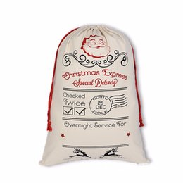 reindeer kids NZ - Newest Christmas Large Canvas Monogrammable Santa Claus Drawstring Bag With Reindeers, Monogramable Christmas bags Gifts Sack Bags 0806