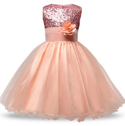 Wholesale 2 y Kids Sequin Flower Girls Dress Kids Pageant Party Wedding Ball Gown Prom Princess Formal Occassion Girls Dress