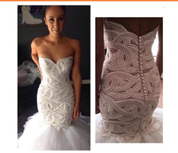 Chinese  Real Image Mermaid Wedding Dresses Vintage Lace Sweetheart Pearls Beaded Tulle Layered Ruffles Wedding Bridal Gowns Vestido De Novia BA3780 manufacturers