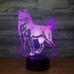 lighted dog ball 2018 - Shepherd Dog 3D Illusion light Lamp 3D Optical Lamp AA Battery USB Powered 7 RGB Light DC 5V Wholesale Free Shipping che