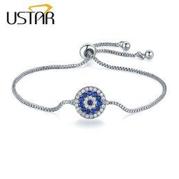 $enCountryForm.capitalKeyWord Australia - USTAR Crystals Round Charm Bracelets for women Micro Paved Cubic Zirconia Silver color adjustable chain Bangle Bracelet femme