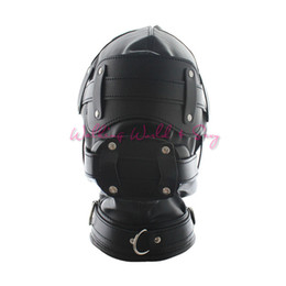 leather mask blindfolded gagged Australia - Soft Pu Leather Mask Bondage Hood With Adjustable Dildo Gag Blindfold Fetish Cosplay Slave Mask Adult Game Sex Toys For Couples S924