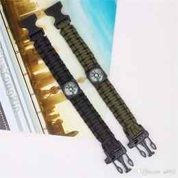 $enCountryForm.capitalKeyWord Australia - Compass Whistle Bracelet Pure Hand Weave Outdoors Camp Gadgets Parachute Rope Hand Ring Fashion Black Hot Sale 2 8hw dd