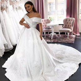 0f3ea636c9 Satin ball gown veStido novia online shopping - Arabic Ball Gown Wedding  Dresses Off Shoulder Sweep