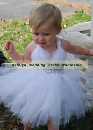 $enCountryForm.capitalKeyWord NZ - Flower girl dress 2017 New Cute White Flower Girl Dress Knee Length Children Dresses Beads Tutu Tulle Baby Occasions Dress For