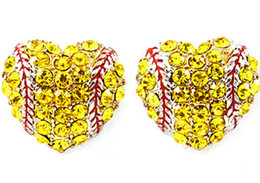 China yellow Rhinestone round yellow softball stud earrings   gift for sports mom spots team gift for her softball mom fashion earring hook stud suppliers
