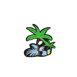coconut flowers 2018 - 10 PCS Diy Flower Coconut Tree Embroidery Sewing on Patches Applique Stickers for Clothing Iron Thermo Patches for Garme