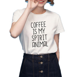348418401 Women's Tee Women Graphic Tees Funny T Shirts Coffee Is My Spirit Animal  Tumblr Hipster Saying Female T-shirt Harajuku Hipster Clothing 2018