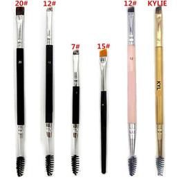 Gift makeup sets online shopping - HOT Makeup Brushes Makeup Brush double eyebrow brush head brush DHL shipping Gift